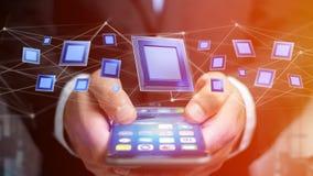 Uomo d'affari facendo uso di uno smartphone con un chip e una rete di unità di elaborazione Fotografia Stock