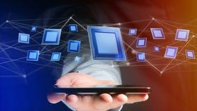Uomo d'affari facendo uso di uno smartphone con un chip e una rete di unità di elaborazione Immagini Stock Libere da Diritti