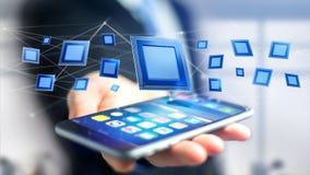 Uomo d'affari facendo uso di uno smartphone con un chip e una rete di unità di elaborazione Immagini Stock