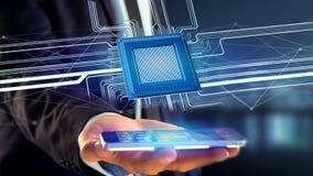 Uomo d'affari facendo uso di uno smartphone con un chip e una rete di unità di elaborazione Immagine Stock