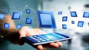 Uomo d'affari facendo uso di uno smartphone con un chip e una rete di unità di elaborazione Fotografie Stock