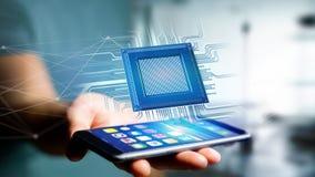 Uomo d'affari facendo uso di uno smartphone con un chip e una rete di unità di elaborazione Immagine Stock Libera da Diritti