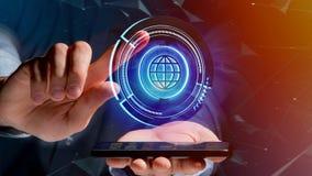 Uomo d'affari facendo uso di uno smartphone con un globo technologic b di Shinny Immagine Stock Libera da Diritti