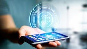 Uomo d'affari facendo uso di uno smartphone con un globo technologic b di Shinny Fotografie Stock Libere da Diritti