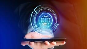 Uomo d'affari facendo uso di uno smartphone con un globo technologic b di Shinny Immagini Stock