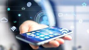 Uomo d'affari facendo uso di uno smartphone con un'icona del contatto che circonda b Fotografie Stock