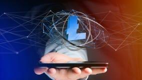 Uomo d'affari facendo uso di uno smartphone con un si cripto di valuta di Bitcoin Immagini Stock Libere da Diritti