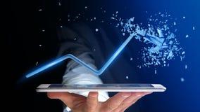 Uomo d'affari facendo uso di uno smartphone con una freccia finanziaria che va su Fotografia Stock