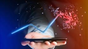 Uomo d'affari facendo uso di uno smartphone con una freccia finanziaria che va su Immagini Stock