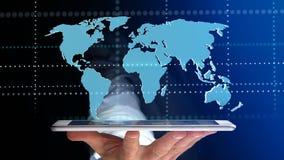 Uomo d'affari facendo uso di uno smartphone con una mappa di mondo collegata - 3d r Fotografia Stock