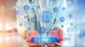 Uomo d'affari facendo uso di uno smartphone con una rete sopra w collegato Immagini Stock Libere da Diritti