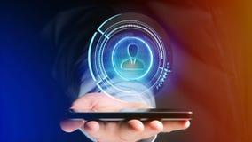 Uomo d'affari facendo uso di uno smartphone con una rete technologic di Shinny Fotografia Stock