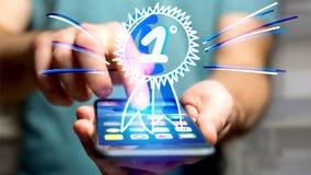 Uomo d'affari facendo uso di uno smartphone con una ricompensa disegnata a mano per Immagini Stock Libere da Diritti