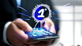 Uomo d'affari facendo uso di uno smartphone con una ricompensa disegnata a mano per Immagine Stock