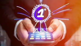 Uomo d'affari facendo uso di uno smartphone con una ricompensa disegnata a mano per Immagini Stock