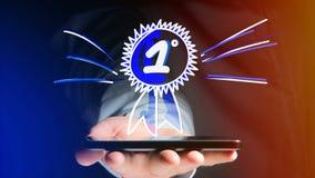 Uomo d'affari facendo uso di uno smartphone con una ricompensa disegnata a mano per Fotografie Stock