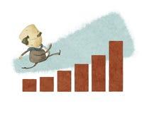 Uomo d'affari fatto funzionare in un grafico a strisce Fotografia Stock