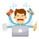 Uomo d'affari Feeling Stressed Working dietro il computer portatile Immagini Stock