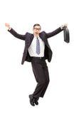 Uomo d'affari felice, ballante Fotografia Stock