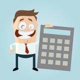 Uomo d'affari felice con il grande calcolatore Fotografia Stock