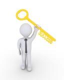 Uomo d'affari felice con la chiave di successo Fotografia Stock