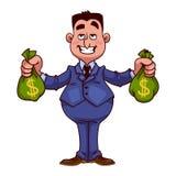 Uomo d'affari felice con le borse di soldi Fotografia Stock