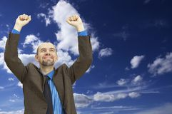 Uomo d'affari felice (con spazio per il vostro testo) Immagine Stock