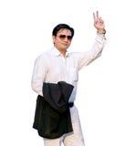 Uomo d'affari felice del vincitore isolato su fondo bianco Immagine Stock Libera da Diritti