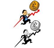 Uomo d'affari felice Pursue Sales Target Fotografia Stock Libera da Diritti