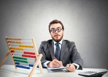 Uomo d'affari finanziario del nerd Fotografie Stock