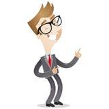 Uomo d'affari fortunatamente incoraggiante che sbatte le palpebre e che gesturing illustrazione vettoriale