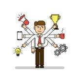 Uomo d'affari a funzioni multiple isolato illustrazione di stock