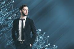 Uomo d'affari geometrico astratto di verde blu del modello Immagine Stock