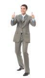 Uomo d'affari gesturing felice Fotografie Stock
