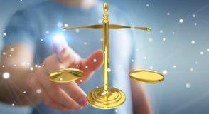Uomo d'affari giustamente la rappresentazione delle bilance 3D Immagini Stock Libere da Diritti