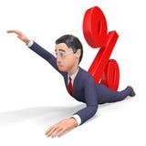 Uomo d'affari Indicates Percentage Sign di interesse e rappresentazione fallimento 3d Fotografia Stock Libera da Diritti
