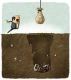 Uomo d'affari ingannato con una trappola Immagine Stock