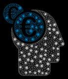 Uomo d'affari Intellect della maglia luminosa 2D euro con i punti del chiarore illustrazione vettoriale