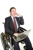 Uomo d'affari invalido - chiacchierata piacevole Fotografia Stock