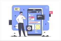 Uomo d'affari isolato piano svilupparsi e creando nuova applicazione illustrazione di stock