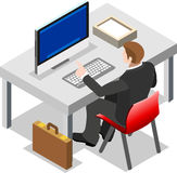Uomo d'affari isometrico Sale Lead Bank Fotografia Stock Libera da Diritti