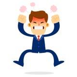 Uomo d'affari Jump nella rabbia Immagini Stock