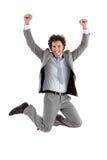 Uomo d'affari Jumping Fotografia Stock