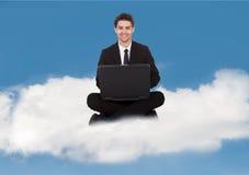 Uomo d'affari With Laptop Immagine Stock Libera da Diritti