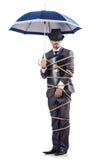 Uomo d'affari legato in su Fotografia Stock