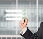 Uomo d'affari, lista di controllo, spazio della copia Immagini Stock Libere da Diritti