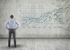 Uomo d'affari Looking At Graph Fotografia Stock Libera da Diritti