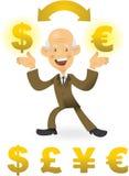 Uomo d'affari maggiore che fa scambio di valuta illustrazione vettoriale