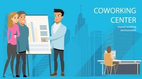 Uomo d'affari Make Presentation Openspace Coworking royalty illustrazione gratis