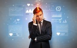 Uomo d'affari malato con il concetto di ricerca medica immagini stock libere da diritti